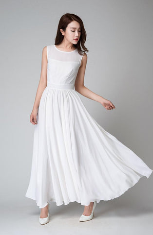 White sleeveless fit and flare maxi dress 1535