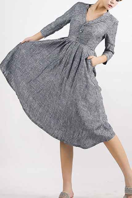 Grey dress linen shirt dress MM50#