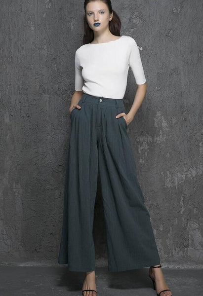 Linen pants woman, Blue palazzo pants, blue linen pants, Wide leg pants women, palazzo pants 1924