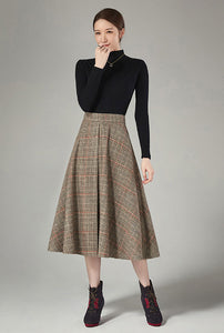 Vertical stitching plaid skirt for winter J106