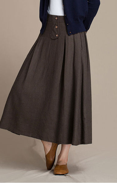 Hang down feeling linen skirt for autumn J084-14