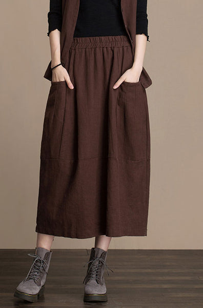 Cotton and linen skirt midi skirt Lantern skirt autumn skirt  J084-2