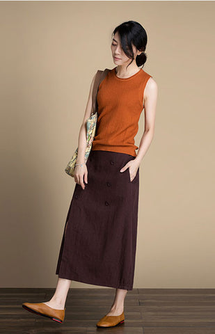 Spread out before the fork washing Linen  skirt for autumn J084-13