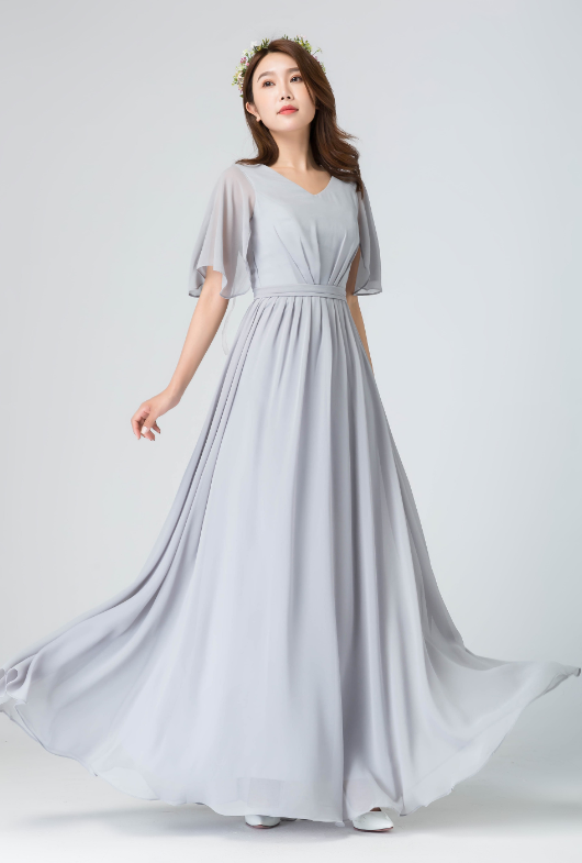abdc6f71203 Light Gray V Neck Chiffon Bridesmaid Dress