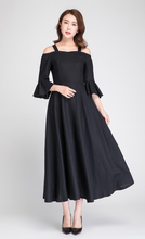 Load image into Gallery viewer, linen maxi dress, off shoulder dress, summer dress, party dress, evening dress 1892