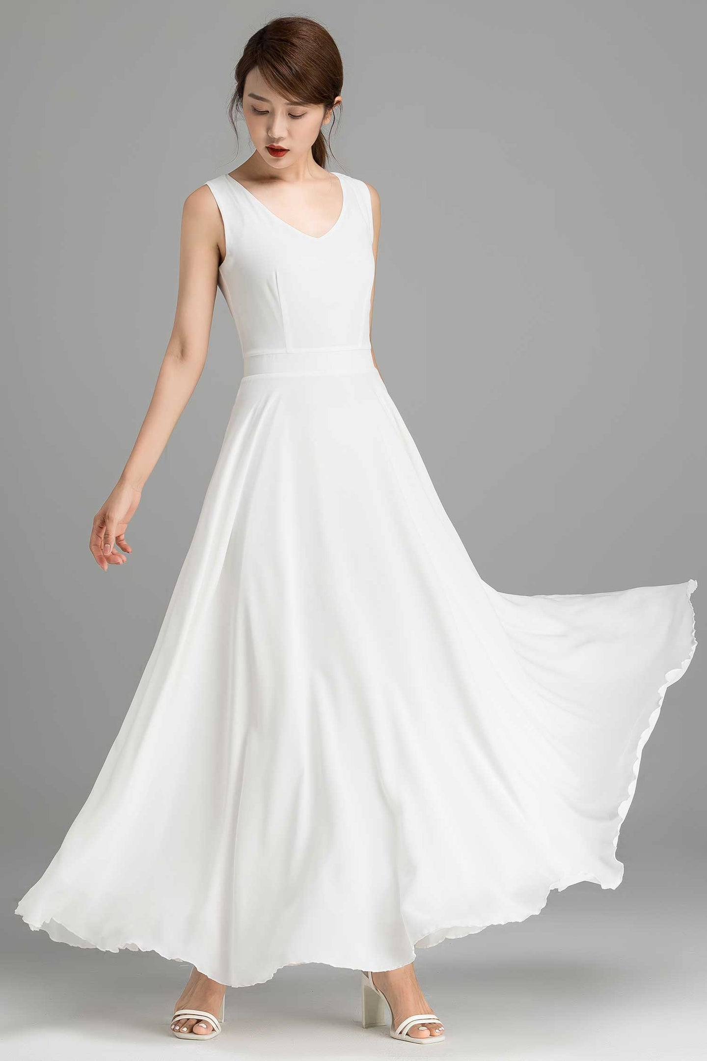 maxi white party dress with V neck line for women 2366#