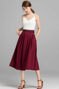 Pleated A line midi skirt for women 2370#