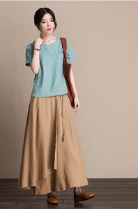 Cotton and linen skirt midi skirt A-line skirt autumn skirt  J084-5