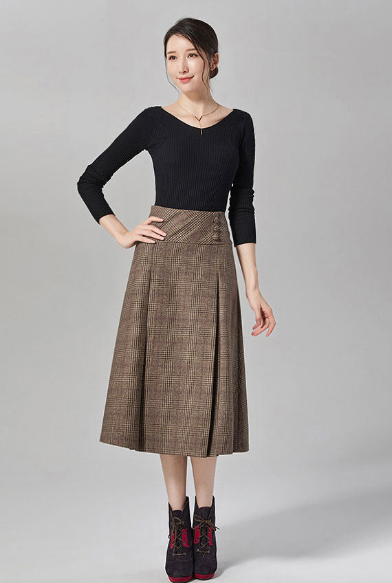 Vintage wool mid-calf  plaid A-line skirt for autumn J101