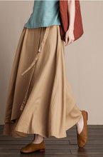 Load image into Gallery viewer, Cotton and linen skirt midi skirt A-line skirt autumn skirt  J084-5