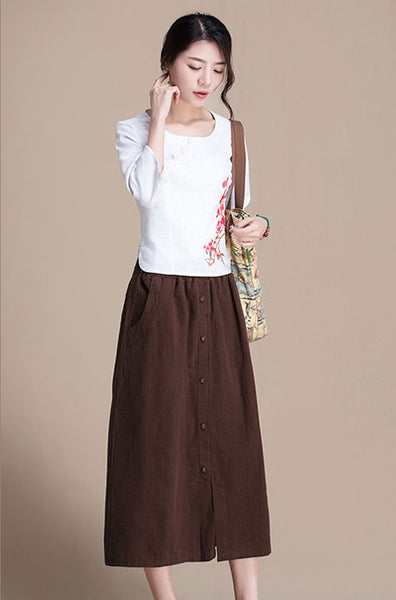 Cotton and linen skirt midi skirt A-line skirt spring  skirt  J084-4