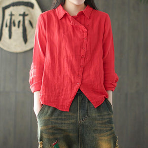 Vintage Cotton Linen button front Long Sleeve Shirt 1900053