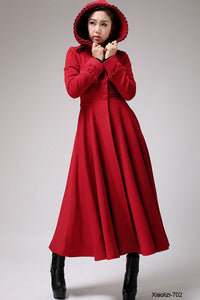 Red hooded wool coat