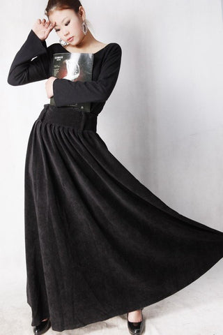Black Corduroy maxi skirt woman long skirt MM35#