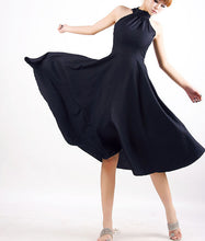 Load image into Gallery viewer, Black Halter Prom Dress - Sexy Sleeveless Cocktail Dress with Floaty Full Skirt MM07#