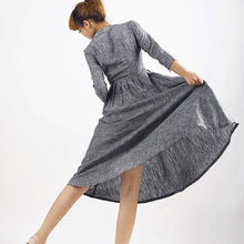Load image into Gallery viewer, Grey dress linen shirt dress MM50#
