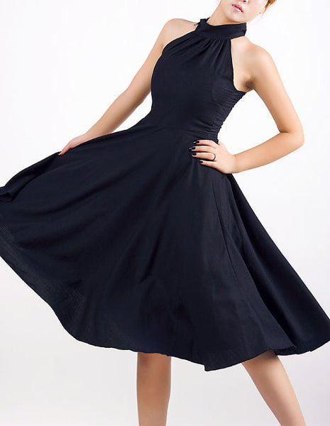 Black Halter Prom Dress - Sexy Sleeveless Cocktail Dress with Floaty Full Skirt MM07#