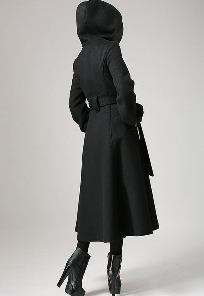 Black wool coat - womens swing coat with tie belt waist long sleeve winter coat (724)