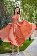 Load image into Gallery viewer, maxi chiffon dress, bridesmaid dress, prom wedding dress, summer dress, fit and flare dress, formal dress, party dress, womens dresses 2181