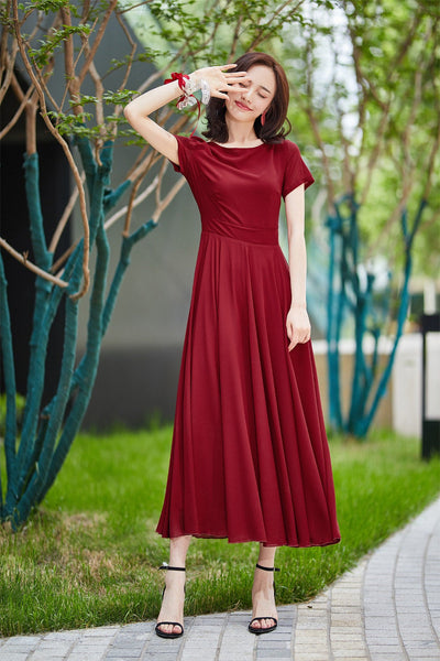 Burgundy bridesmaid dress long, formal gown with sleeves, bridesmaid dress, maxi chiffon dress, Modest evening dress, summer dress 2182