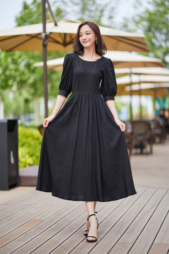 feminine little black dress for summer 2183