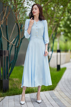 Load image into Gallery viewer, summer chiffon dress, blue dress, fitted dress, party dress, midi dress, v neck dress, pleated dress, elegant dress, handmade dress 2180