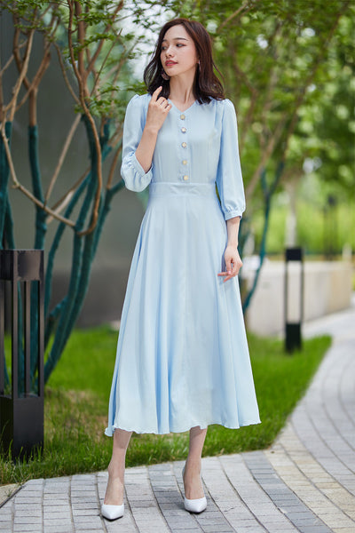 summer chiffon dress, blue dress, fitted dress, party dress, midi dress, v neck dress, pleated dress, elegant dress, handmade dress 2180