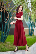 Load image into Gallery viewer, Burgundy bridesmaid dress long, formal gown with sleeves, bridesmaid dress, maxi chiffon dress, Modest evening dress, summer dress 2182