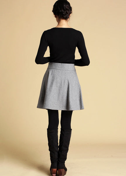 Mini wool skirt black skirt women skirt (358)