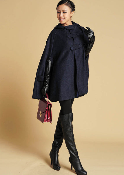 Dark Blue Wool Cape,Winter Fashion, Womens Outerwear - Coat (391)