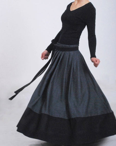 Gray Wool Wrap Skirt - Winter Maxi Pleated Full Skirt with Black Hemline Patchwork Trim (MM68)