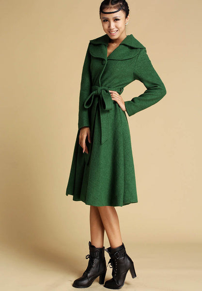 Green Winter Wool Coat - Midi Dress Style Flared Jacket - Knee Length Autumn / Winter Fashion (336T)