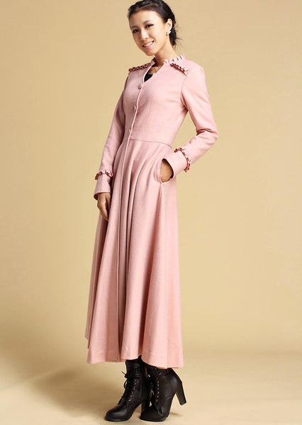 Pink wool coat - women maxi dress coat for winter with ruffle detail and Cinched Waist  (329)