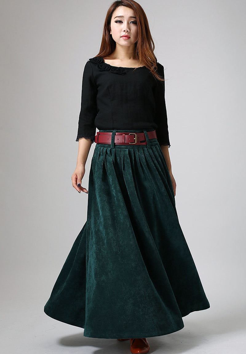 Women's winter Teal green corduroy Pleated Skirt MM61#