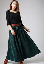 Load image into Gallery viewer, Women's winter Teal green corduroy Pleated Skirt MM61#