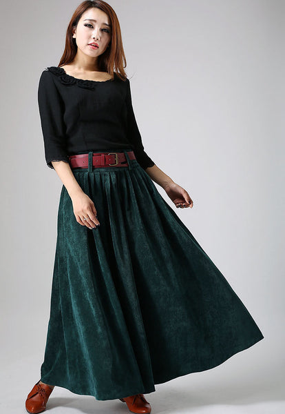Corduroy Winter Skirt - Cozy Teal Green Long Maxi Pleated All Seasons Investment Skirt  (MM61)