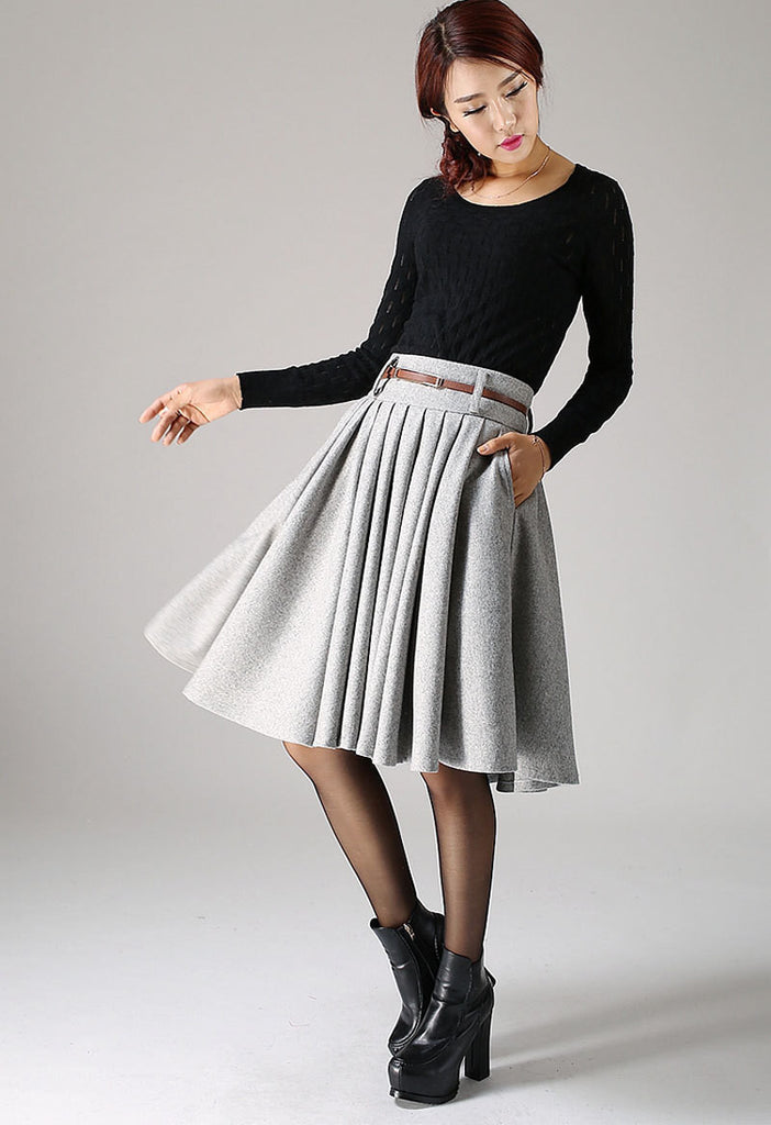 Knee Length Gray Wool Skirt Winter Fashion Flared