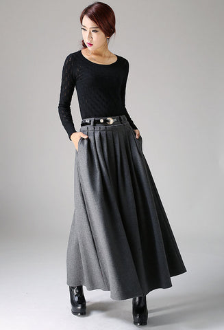 Winter wool skirt maxi skirt dark gray wool skirt (1094)