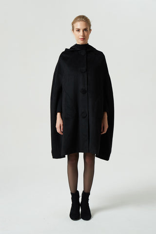black wool cape coat, hooded warm cape, women winter outerwear 1952#