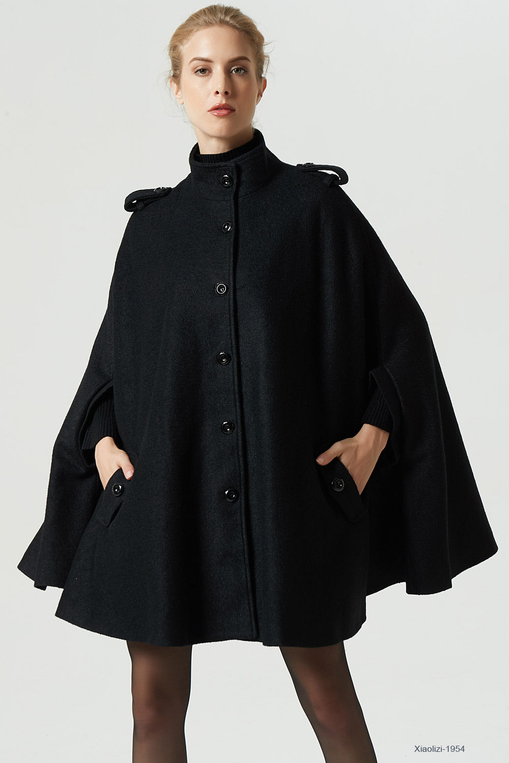 black wool cape plus size cape for women 1954#
