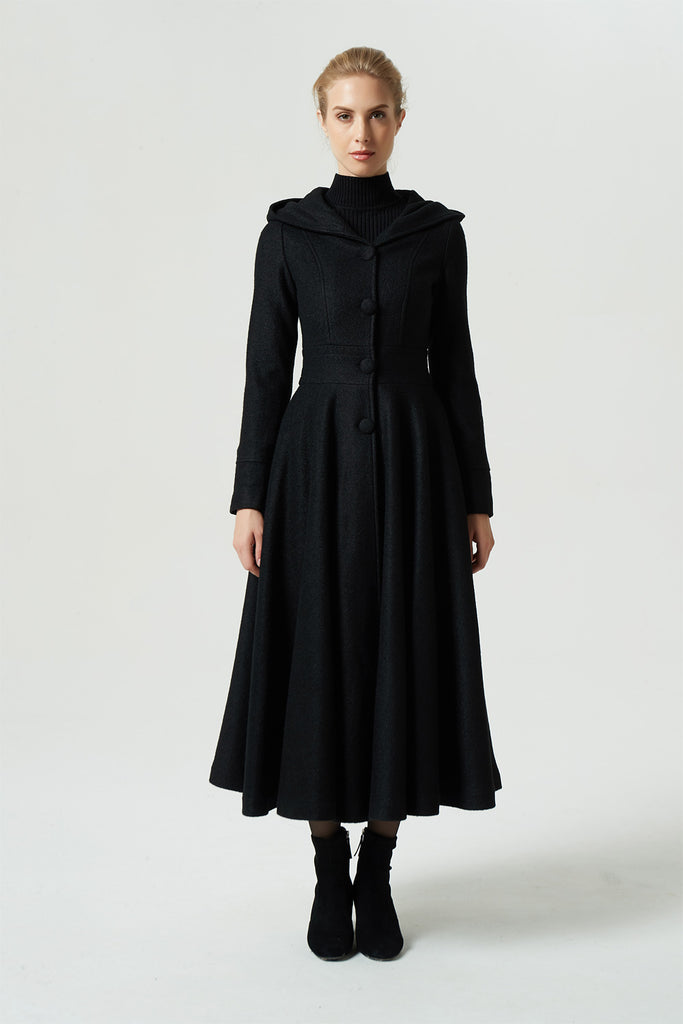 15254f2d2de Home › winter maxi hooded black wool coat 1958. black coat. womens coat   hooded coat  long ...