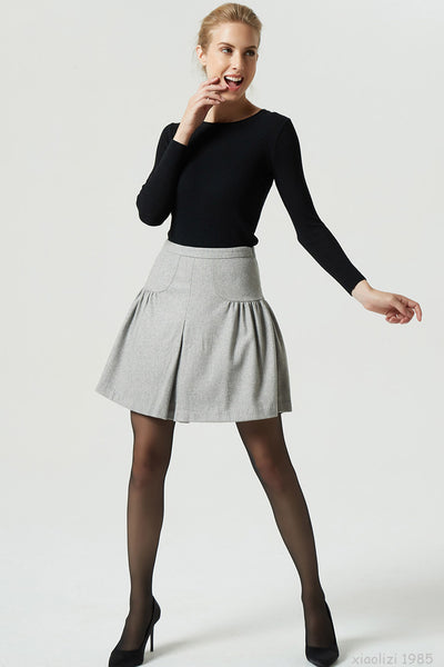 light gray wool skirt