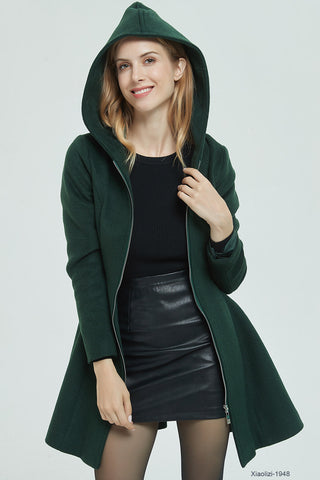 hooded wool jacket