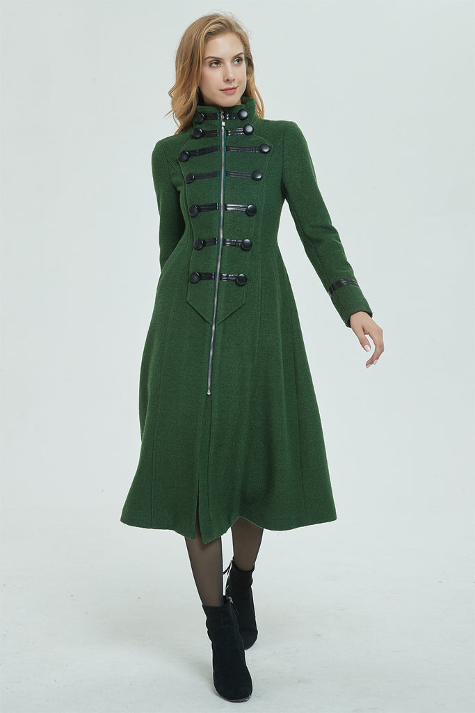 green wool coat