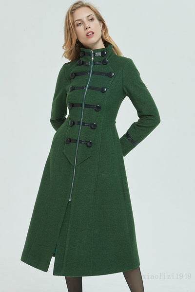 Long wool coat, winter coat, womens coat, green coat 1949