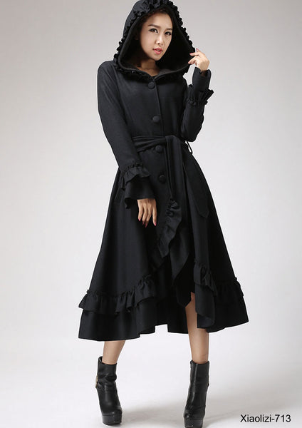 Black ruffle wool coat