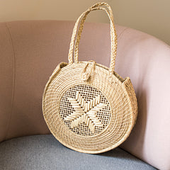 Circle Star straw shoulder bag
