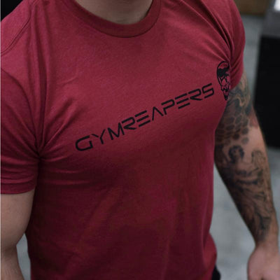 Gymreapers basic shirt in cardinal with black logo side
