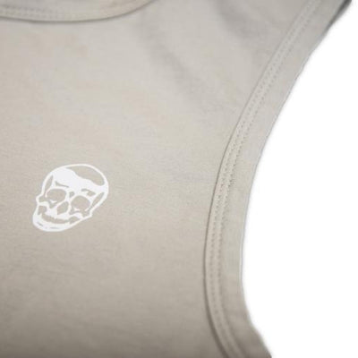 Gymreapers extended tank in charcoal with white logo