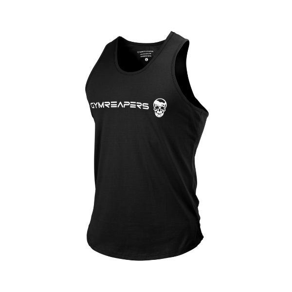 Gymreapers curved hem tank in black and white